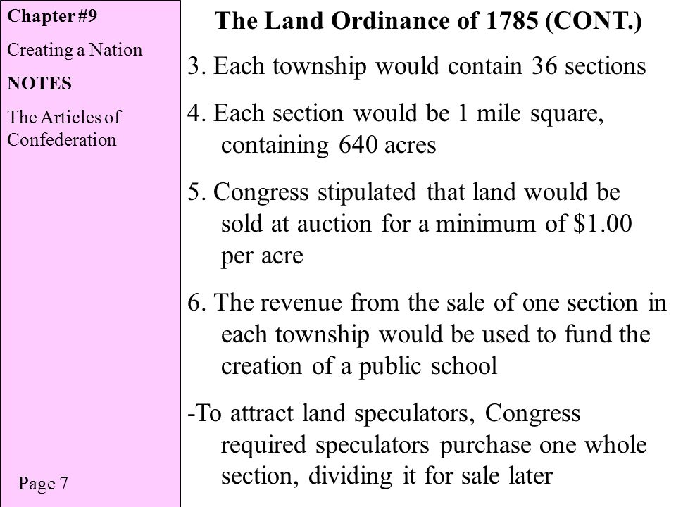 Chapter The Land Ordinance of 1785 (CONT.) Page 7 3.