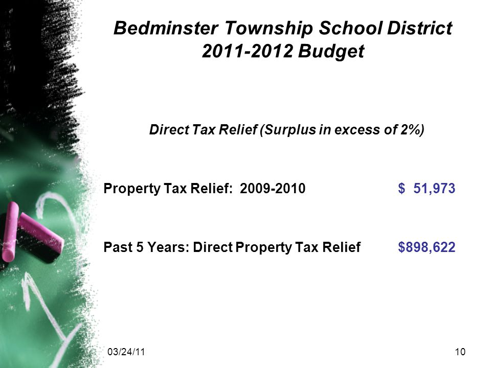 03/24/1110 Bedminster Township School District 2011-2012 Budget Direct Tax Relief (Surplus in excess of 2%) Property Tax Relief: 2009-2010$ 51,973 Past 5 Years: Direct Property Tax Relief$898,622