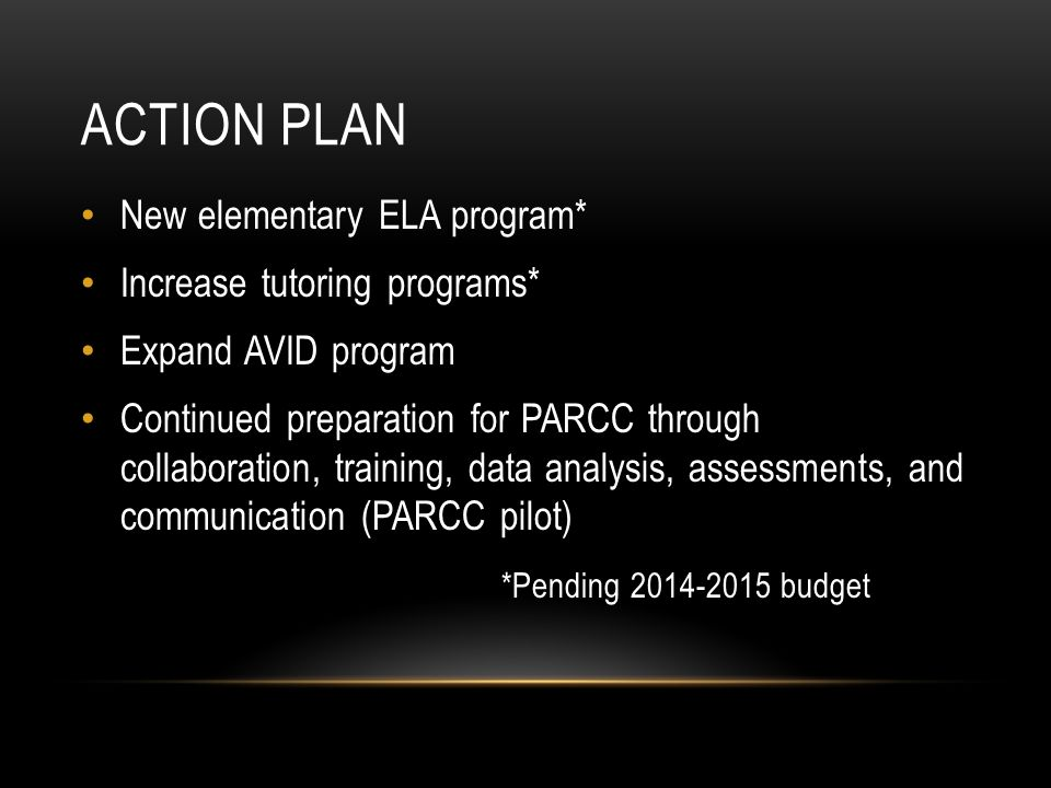 ACTION PLAN New elementary ELA program* Increase tutoring programs* Expand AVID program Continued preparation for PARCC through collaboration, trainin