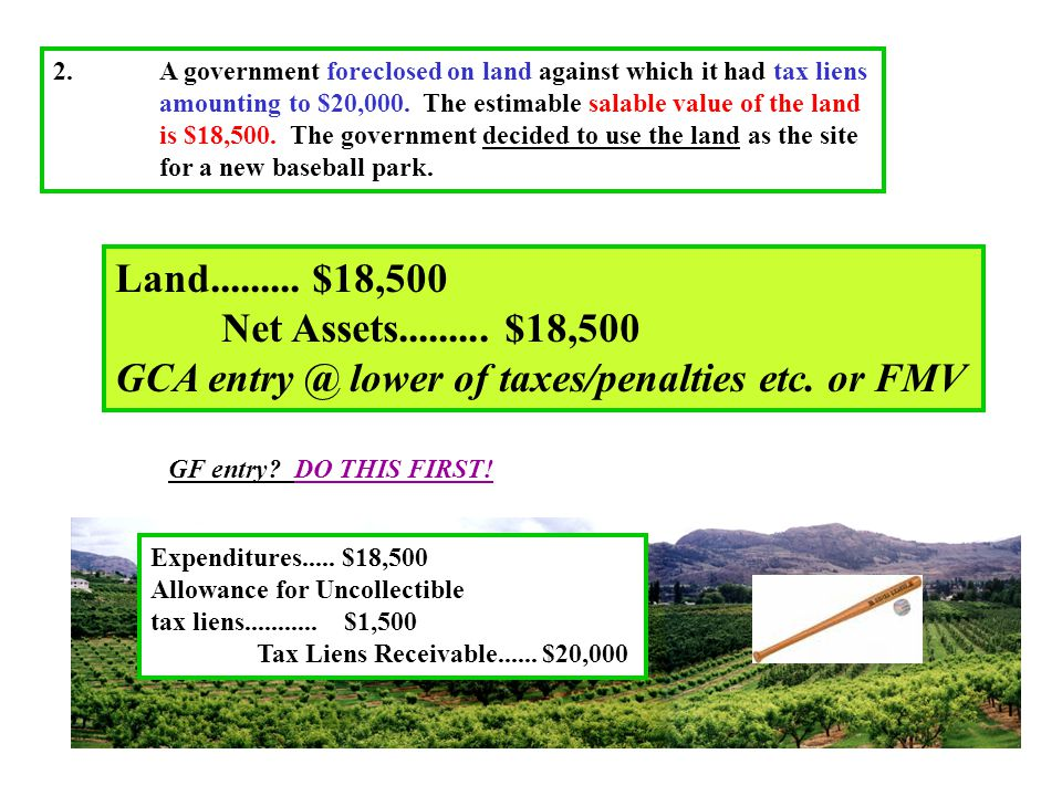 2.A government foreclosed on land against which it had tax liens amounting to $20,000.