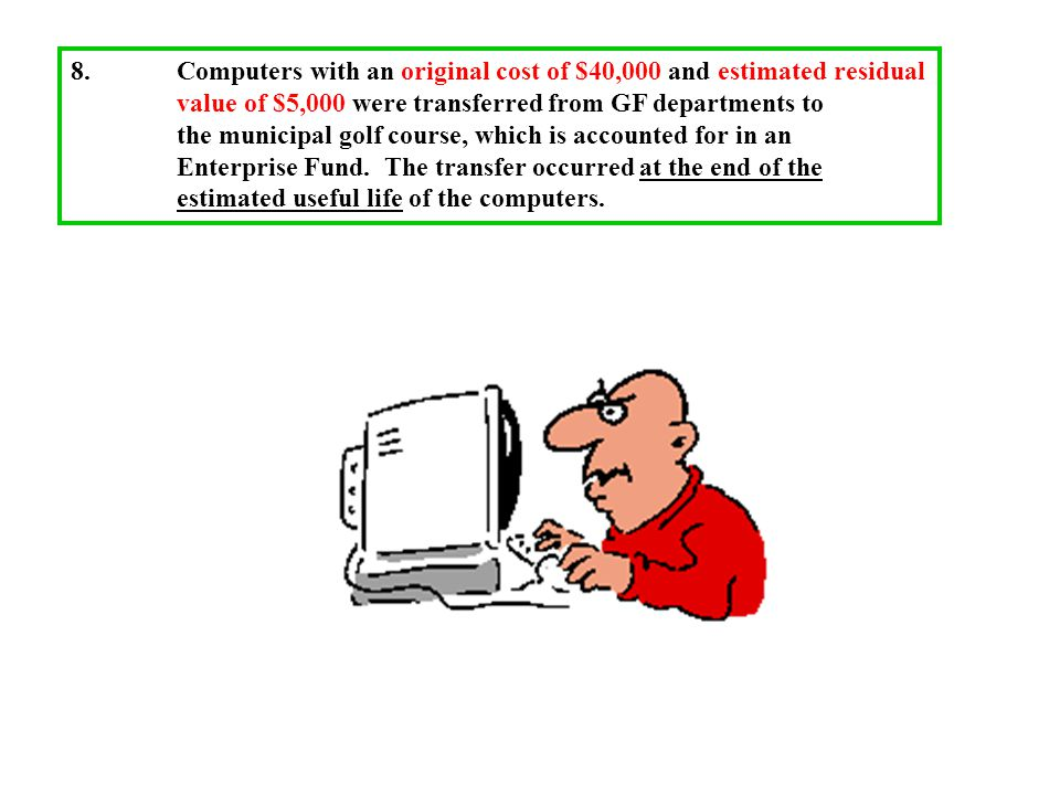 8.Computers with an original cost of $40,000 and estimated residual value of $5,000 were transferred from GF departments to the municipal golf course, which is accounted for in an Enterprise Fund.