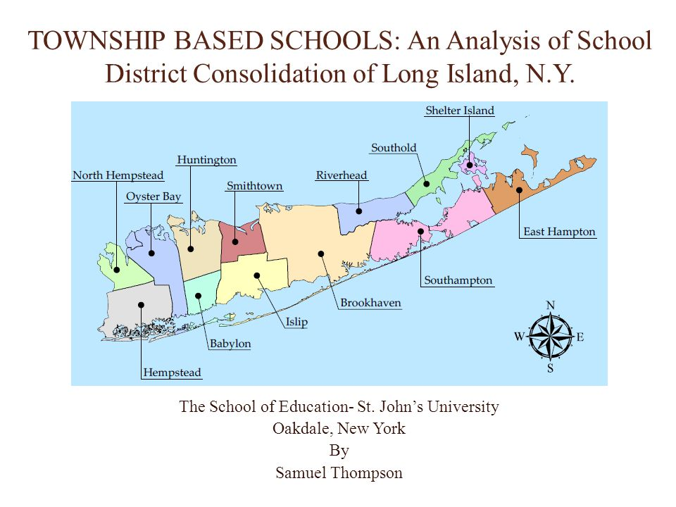 Purpose of the Research This researcher examined the process of school district consolidation necessary to centralize public K-12 school districts in Nassau and Suffolk County of the Long Island region of New York.