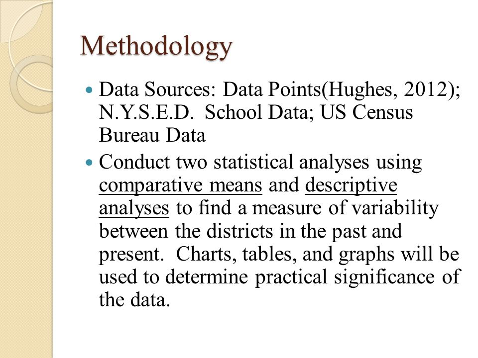 Methodology Data Sources: Data Points(Hughes, 2012); N.Y.S.E.D. School Data; US Census Bureau Data Conduct two statistical analyses using comparative