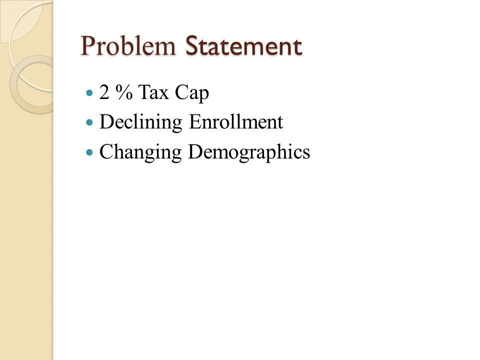 Problem Statement 2 % Tax Cap Declining Enrollment Changing Demographics
