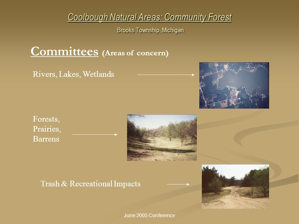 June 2005 Conference Coolbough Natural Areas: Community Forest Brooks Township, Michigan Rivers, Lakes, Wetlands Forests, Prairies, Barrens Trash & Re