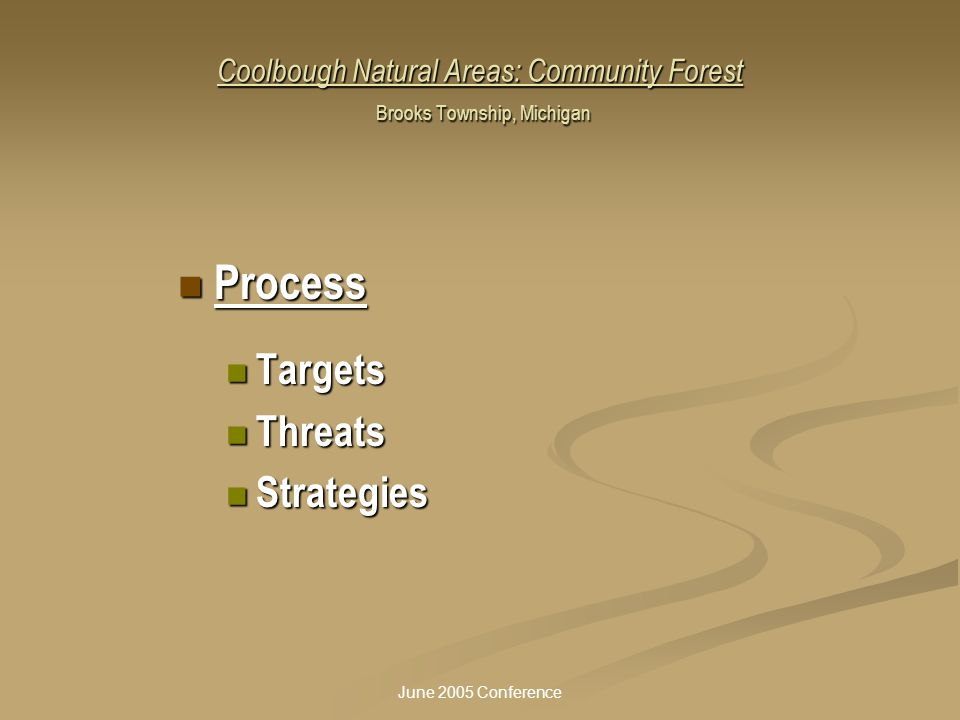 June 2005 Conference Coolbough Natural Areas: Community Forest Brooks Township, Michigan Process Process Targets Targets Threats Threats Strategies St