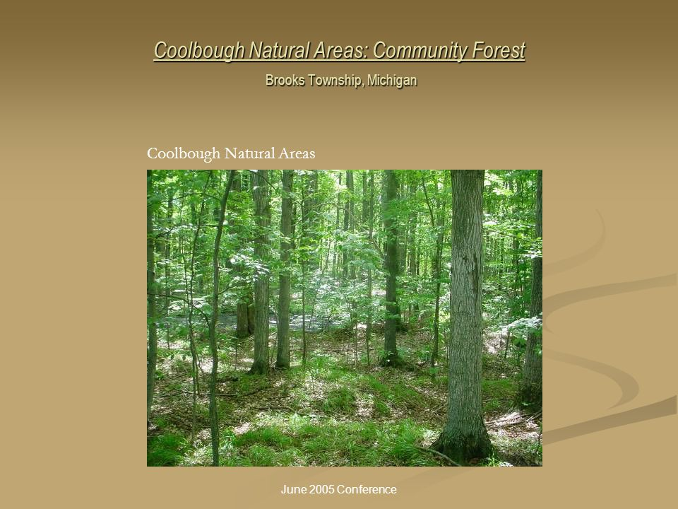 June 2005 Conference Coolbough Natural Areas: Community Forest Brooks Township, Michigan Coolbough Natural Areas