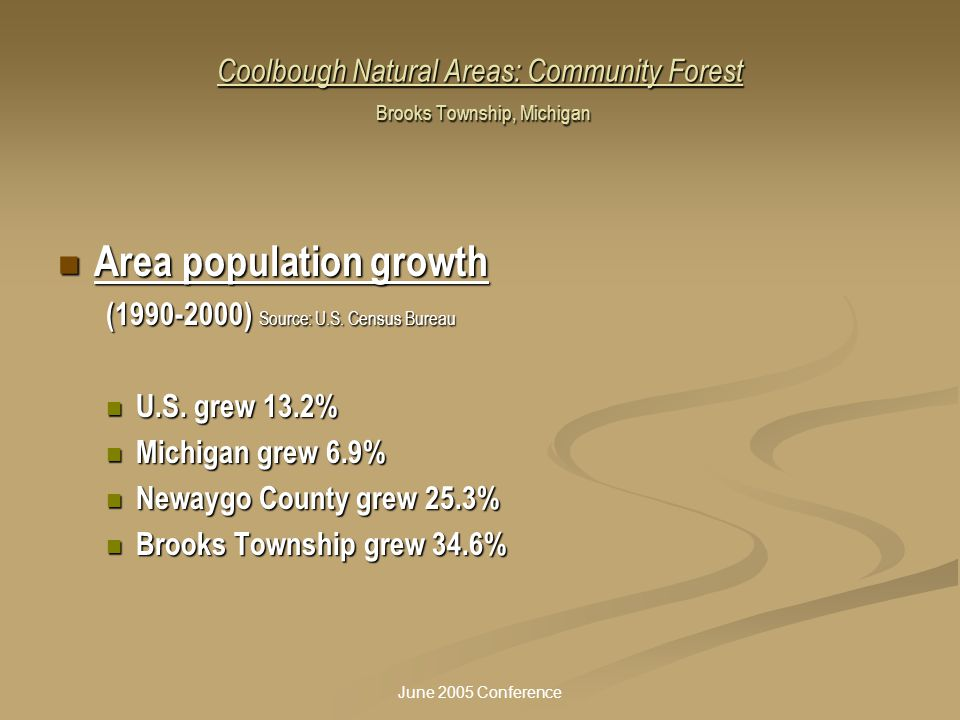 June 2005 Conference Coolbough Natural Areas: Community Forest Brooks Township, Michigan Area population growth Area population growth (1990-2000) Sou