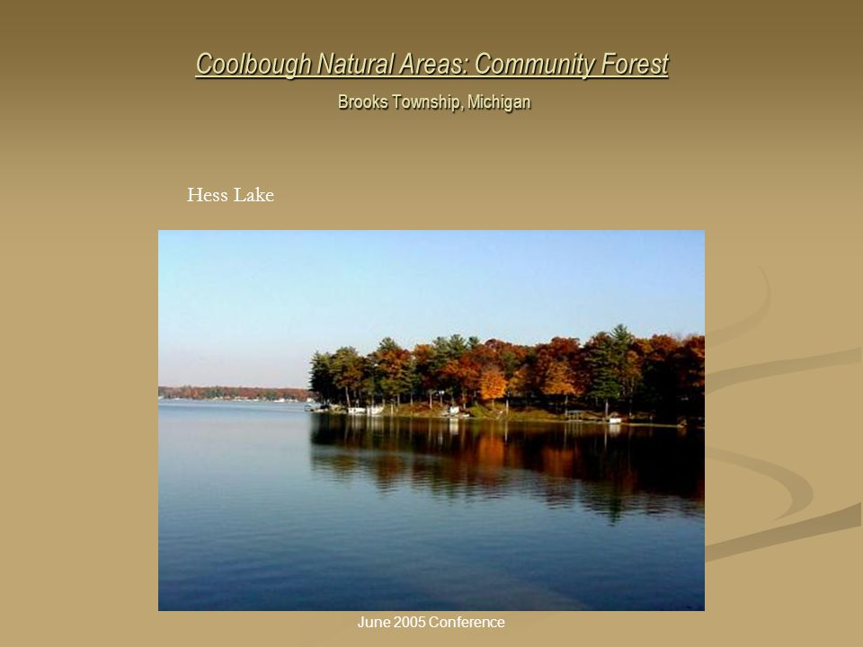 Coolbough Natural Areas: Community Forest Brooks Township, Michigan Hess Lake