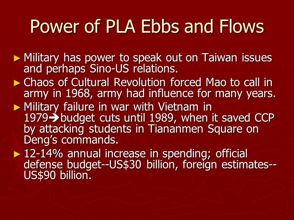 Power of PLA Ebbs and Flows ► Military has power to speak out on Taiwan issues and perhaps Sino-US relations. ► Chaos of Cultural Revolution forced Ma