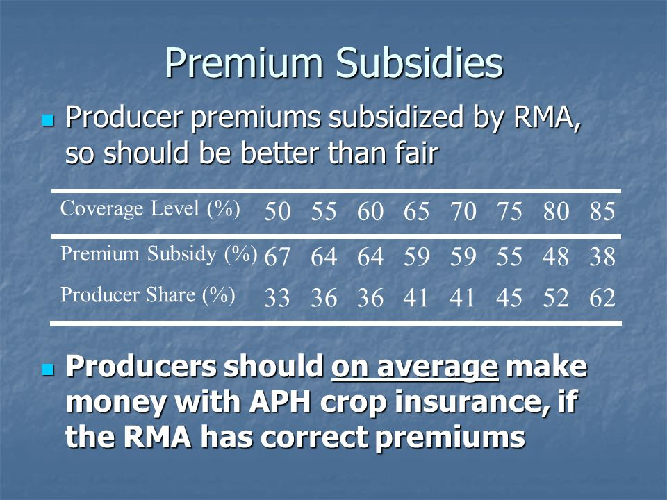 Premium Subsidies Producer premiums subsidized by RMA, so should be better than fair Producer premiums subsidized by RMA, so should be better than fair Producers should on average make money with APH crop insurance, if the RMA has correct premiums Producers should on average make money with APH crop insurance, if the RMA has correct premiums