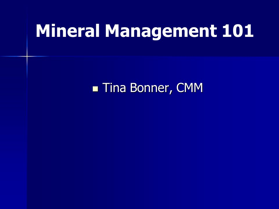 Tina Bonner, CMM Tina Bonner, CMM Mineral Management 101