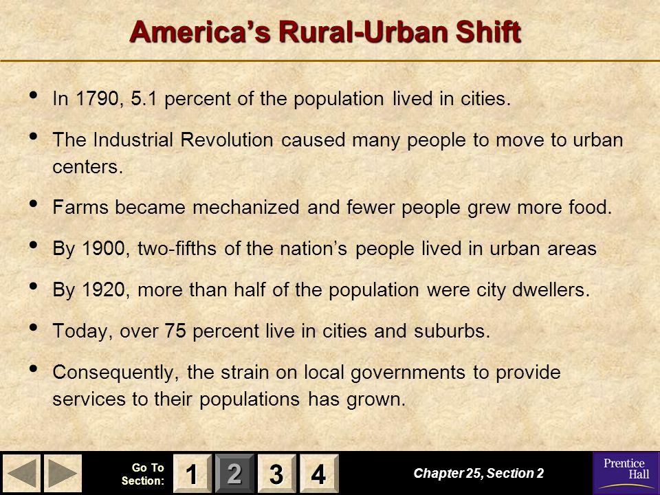 123 Go To Section: 4 Chapter 25, Section 2 3333 4444 1111 America's Rural-Urban Shift In 1790, 5.1 percent of the population lived in cities.