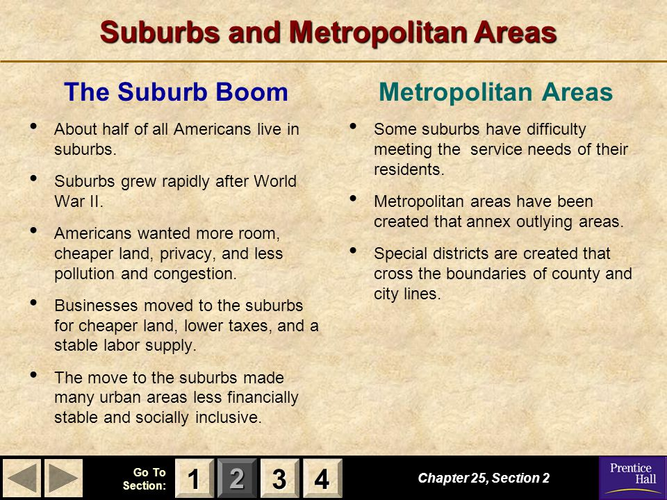 123 Go To Section: 4 Suburbs and Metropolitan Areas The Suburb Boom About half of all Americans live in suburbs.