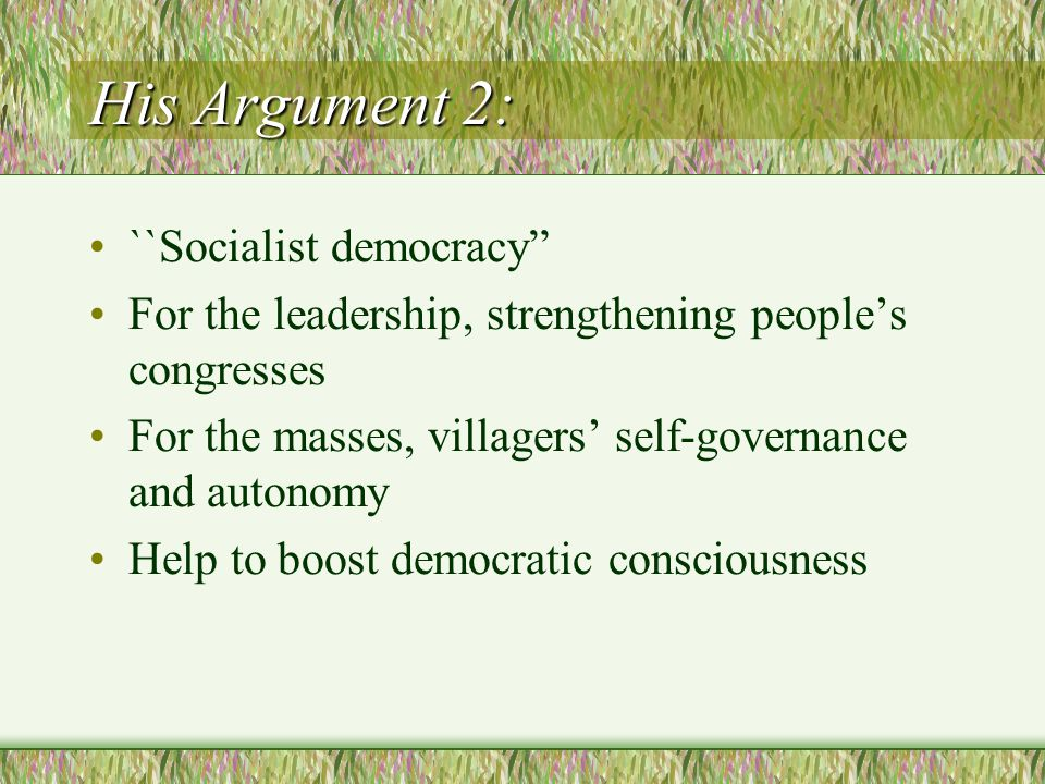 New Developments ``Two-ballot system in election of Party branch members Experiments with direct election of township officials Direct elections of residents' committees since 1999 in urban areas http://www.cartercenter.org