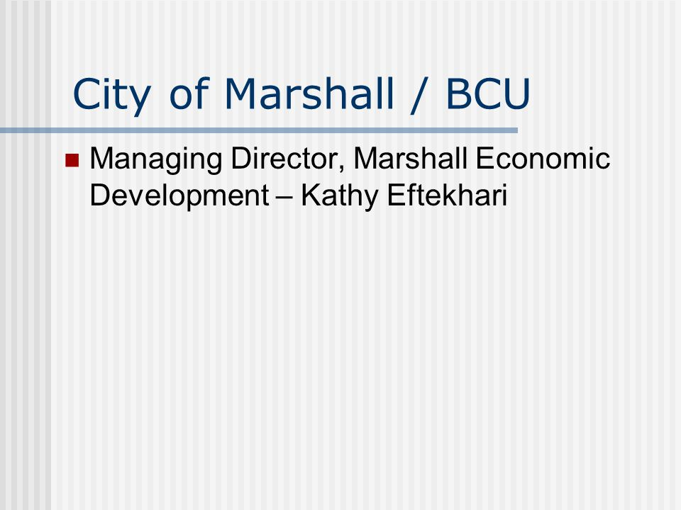 City of Marshall / BCU Managing Director, Marshall Economic Development – Kathy Eftekhari