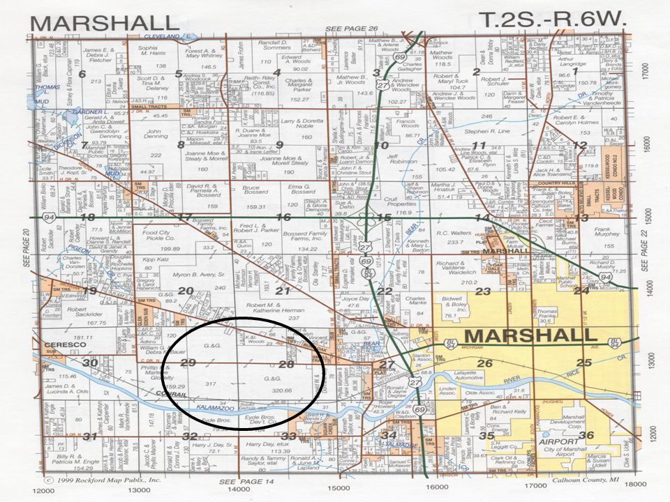 Marshall Township Location At the intersection of I-94 and I-69 8 miles from downtown Battle Creek 4 miles from downtown Marshall 3 miles from I-94 exit 104 2.5 miles from I-69 exit 36 Population 2,922