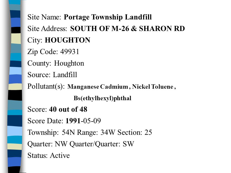 Site Name: Portage Township Landfill Site Address: SOUTH OF M-26 & SHARON RD City: HOUGHTON Zip Code: 49931 County: Houghton Source: Landfill Pollutan