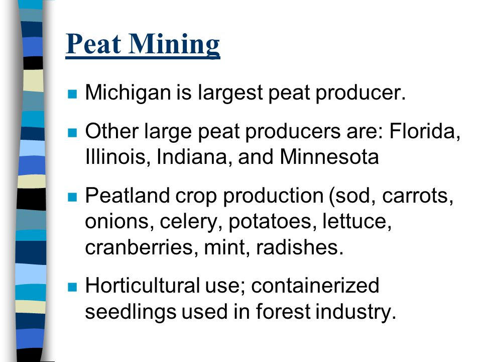 Peat Mining n Michigan is largest peat producer.