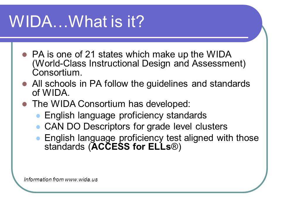 WIDA…What is it.
