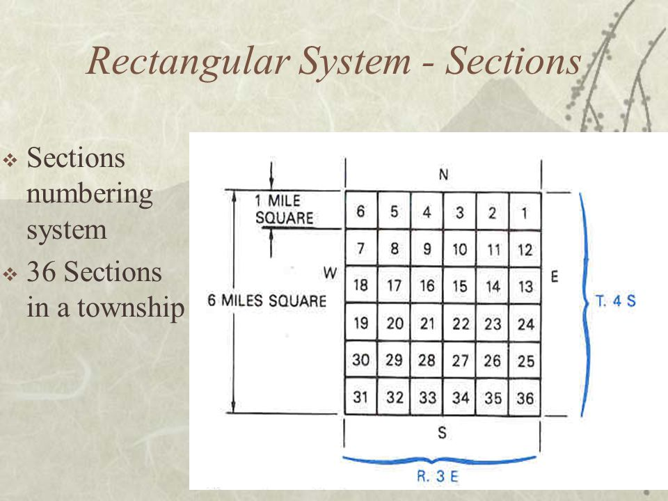  Sections numbering system  36 Sections in a township Rectangular System - Sections