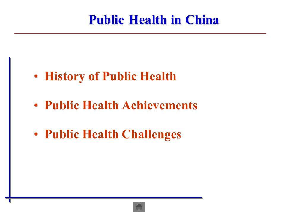 History of Public Health Public Health Achievements Public Health Challenges Public Health in China