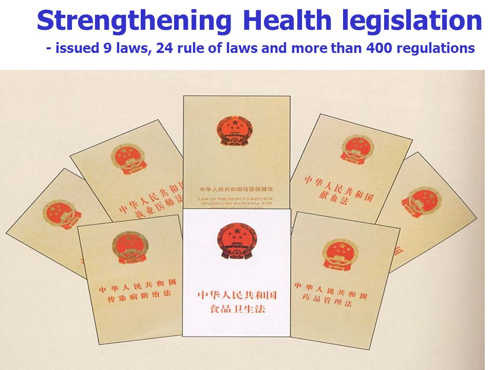 Strengthening Health legislation - issued 9 laws, 24 rule of laws and more than 400 regulations