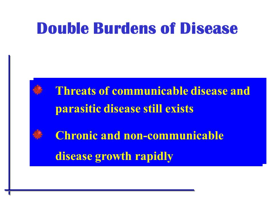 Double Burdens of Disease Threats of communicable disease and parasitic disease still exists Chronic and non-communicable disease growth rapidly Threats of communicable disease and parasitic disease still exists Chronic and non-communicable disease growth rapidly