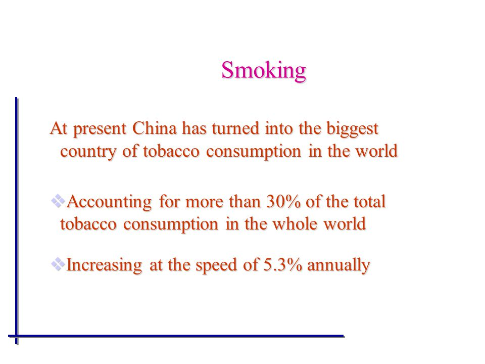 Smoking At present China has turned into the biggest country of tobacco consumption in the world  Accounting for more than 30% of the total tobacco consumption in the whole world  Increasing at the speed of 5.3% annually
