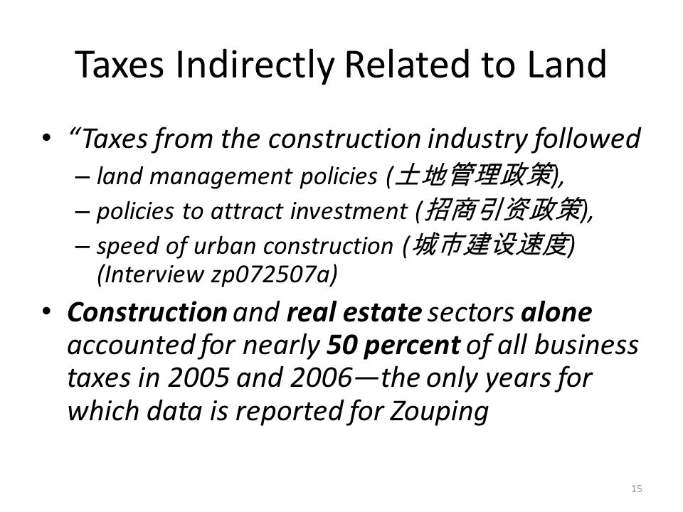 """Taxes Indirectly Related to Land """"Taxes from the construction industry followed – land management policies ( 土地管理政策 ), – policies to attract investmen"""