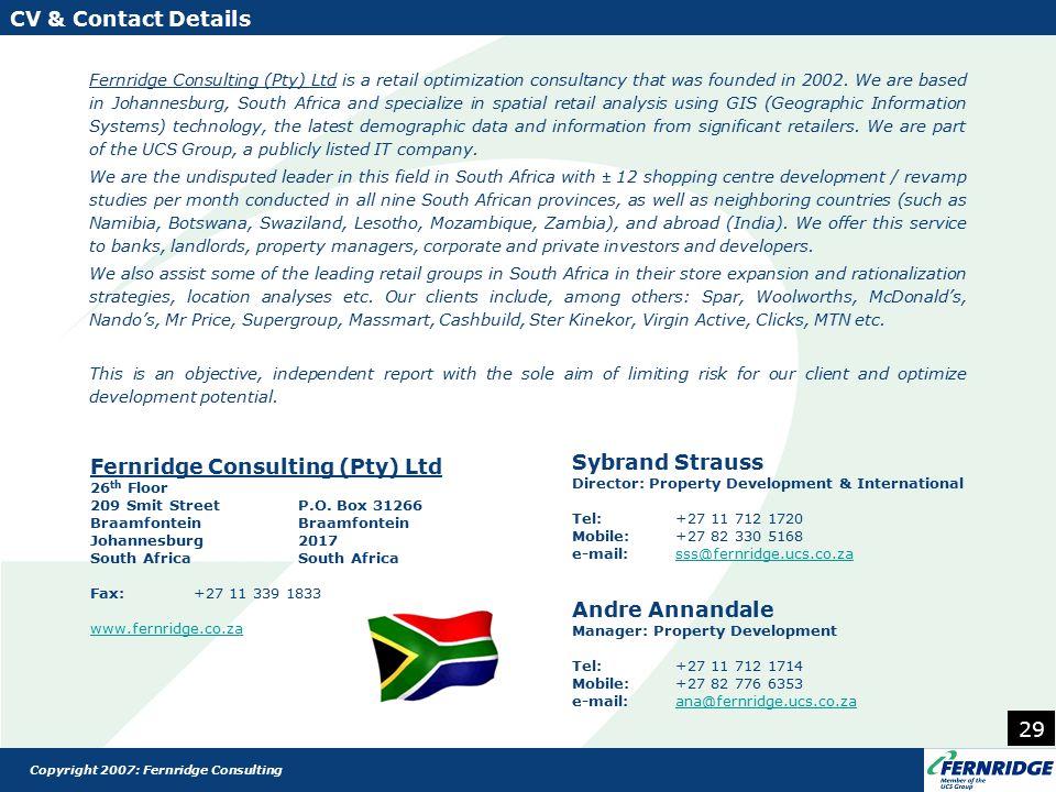 Fernridge Consulting (Pty) Ltd 26 th Floor 209 Smit StreetP.O.
