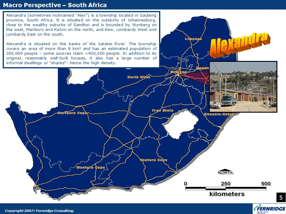 Alexandra (sometimes nicknamed Alex ) is a township located in Gauteng province, South Africa.