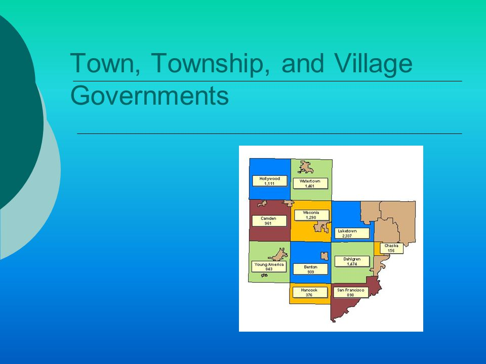 Village and Borough Governments  If Rural communities grow to 200-300 people  A request to establish a village must be sent to the state legislature  If approved, it permits the village to establish self- government  Governed by 3-9 member council  Board of trustees carry out law  Most work part time