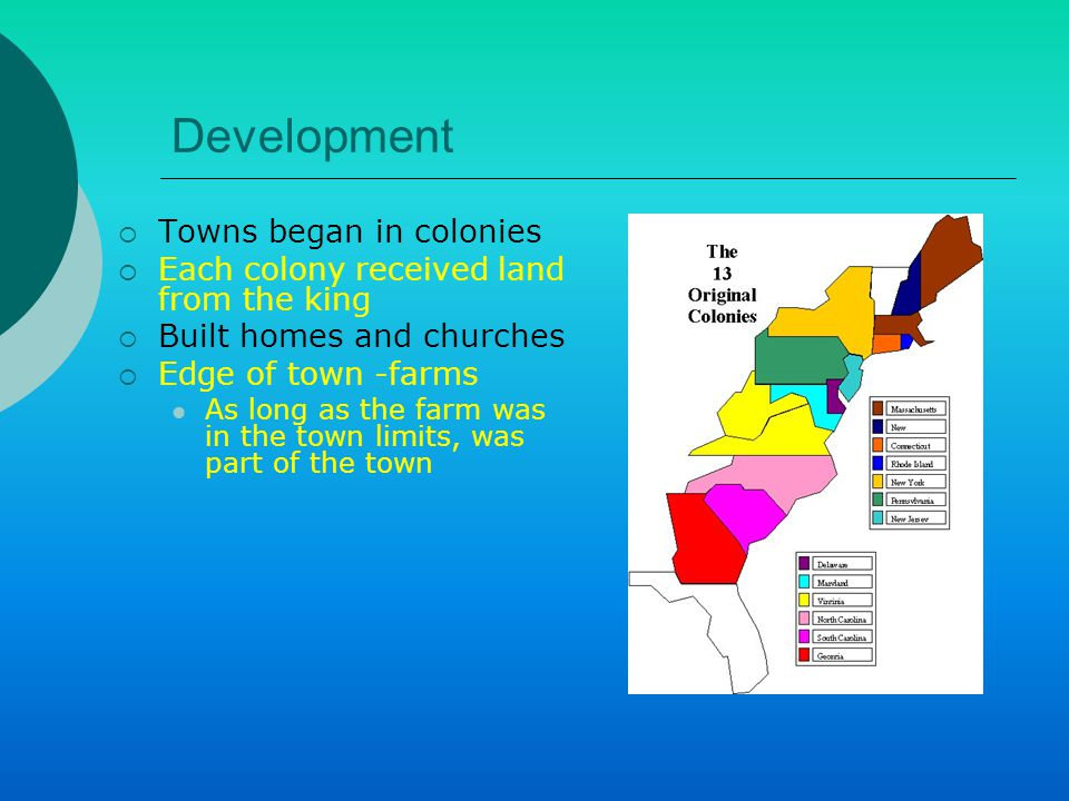 Development  Towns began in colonies  Each colony received land from the king  Built homes and churches  Edge of town -farms As long as the farm was in the town limits, was part of the town
