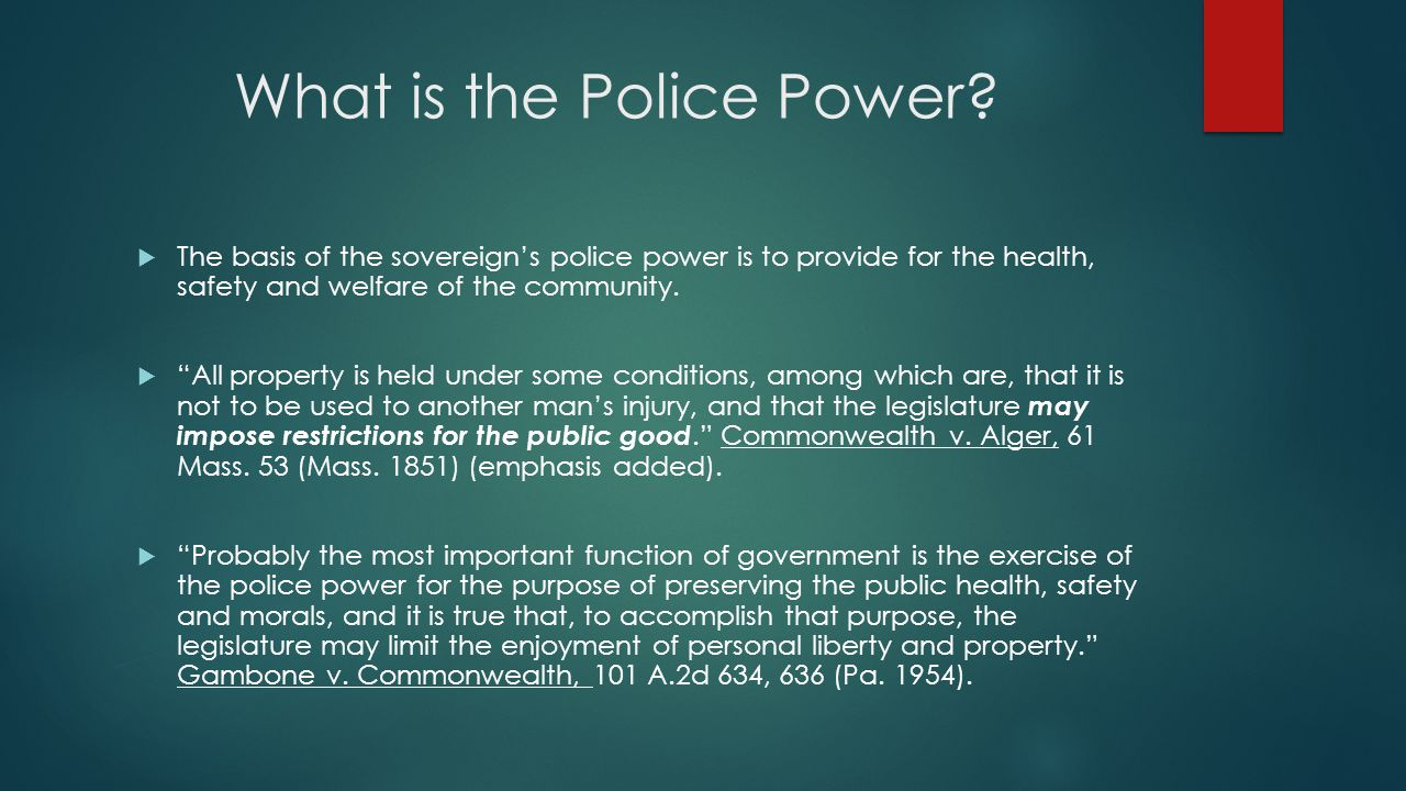 Zoning and the Police Power of the Sovereign
