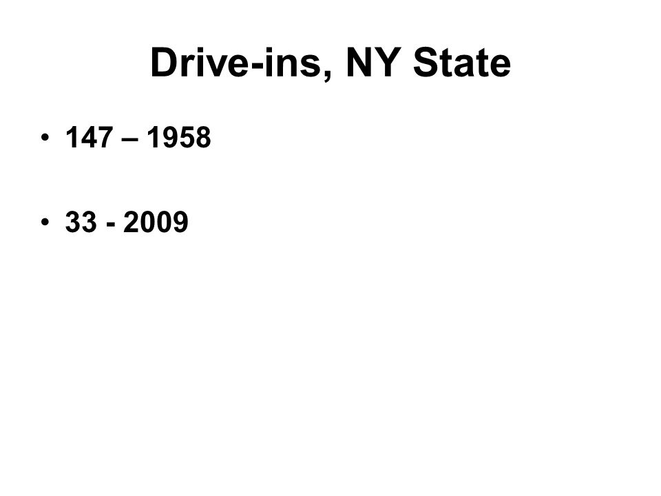 Drive-ins, NY State 147 – 1958 33 - 2009