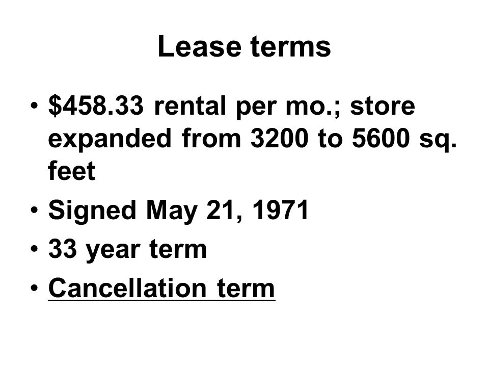 Lease terms $458.33 rental per mo.; store expanded from 3200 to 5600 sq.