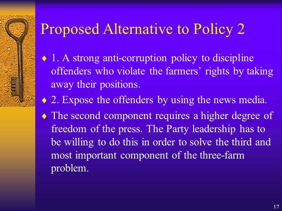 17 Proposed Alternative to Policy 2  1.
