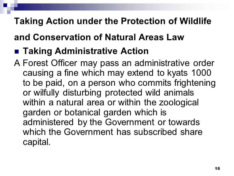 16 Taking Action under the Protection of Wildlife and Conservation of Natural Areas Law Taking Administrative Action A Forest Officer may pass an administrative order causing a fine which may extend to kyats 1000 to be paid, on a person who commits frightening or wilfully disturbing protected wild animals within a natural area or within the zoological garden or botanical garden which is administered by the Government or towards which the Government has subscribed share capital.