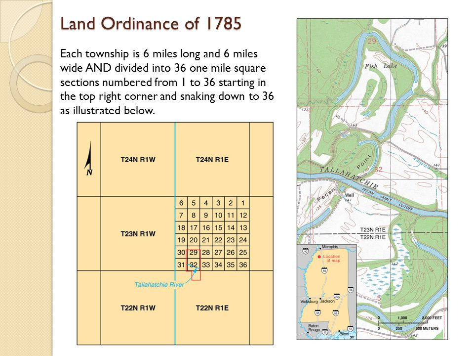 Land Ordinance of 1785 Each township is 6 miles long and 6 miles wide AND divided into 36 one mile square sections numbered from 1 to 36 starting in the top right corner and snaking down to 36 as illustrated below.