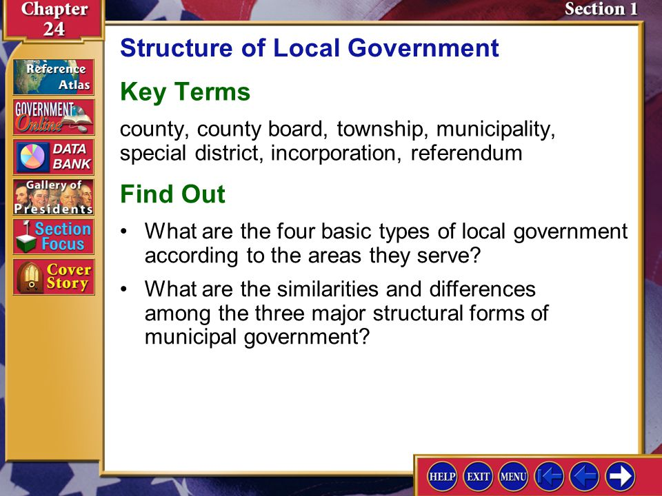 Section 1 Introduction-1 Structure of Local Government Key Terms county, county board, township, municipality, special district, incorporation, refere
