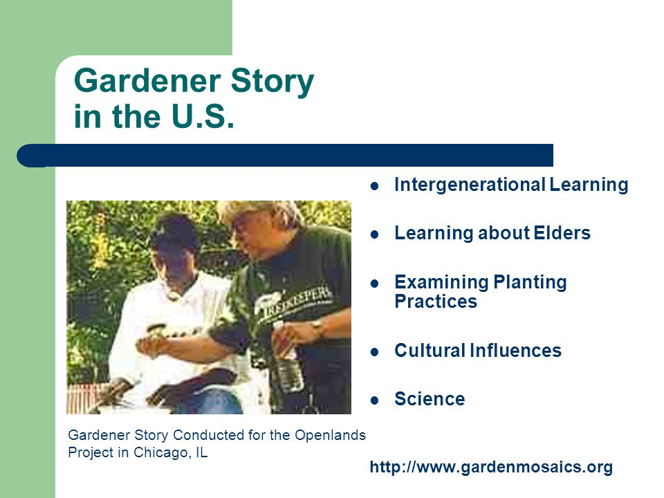 Gardener Story in the U.S. Intergenerational Learning Learning about Elders Examining Planting Practices Cultural Influences Science http://www.garden