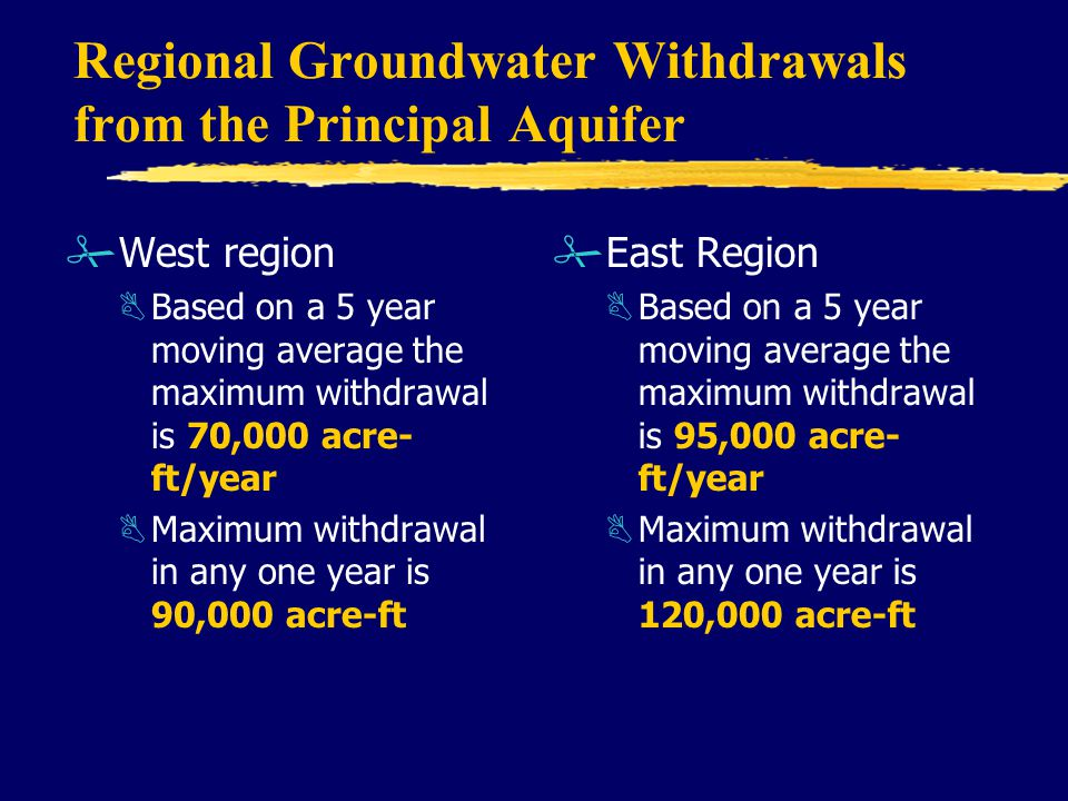 Regional Groundwater Withdrawals from the Principal Aquifer #West region BBased on a 5 year moving average the maximum withdrawal is 70,000 acre- ft/year BMaximum withdrawal in any one year is 90,000 acre-ft # East Region BBased on a 5 year moving average the maximum withdrawal is 95,000 acre- ft/year BMaximum withdrawal in any one year is 120,000 acre-ft