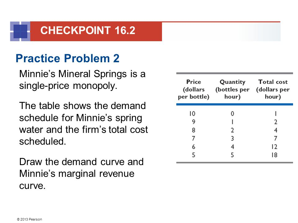 © 2013 Pearson Practice Problem 2 Minnie's Mineral Springs is a single-price monopoly.
