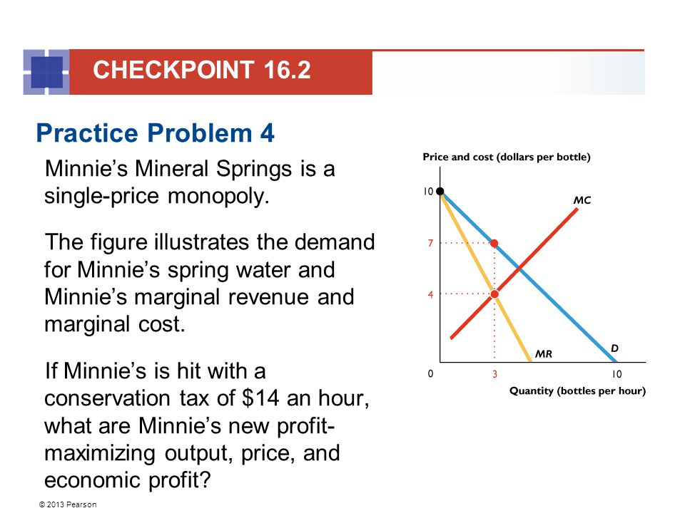© 2013 Pearson Practice Problem 4 Minnie's Mineral Springs is a single-price monopoly.