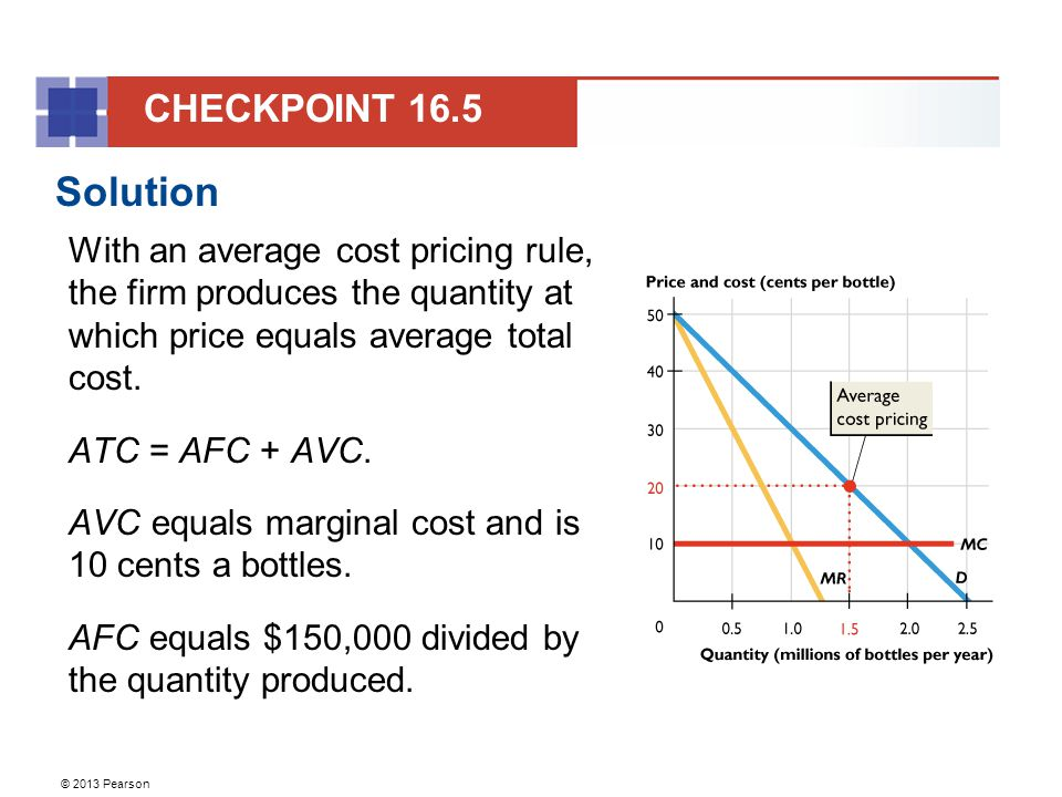 © 2013 Pearson Solution With an average cost pricing rule, the firm produces the quantity at which price equals average total cost.