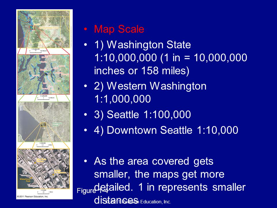 © 2011 Pearson Education, Inc. Figure 1-4 Map Scale 1) Washington State 1:10,000,000 (1 in = 10,000,000 inches or 158 miles) 2) Western Washington 1:1