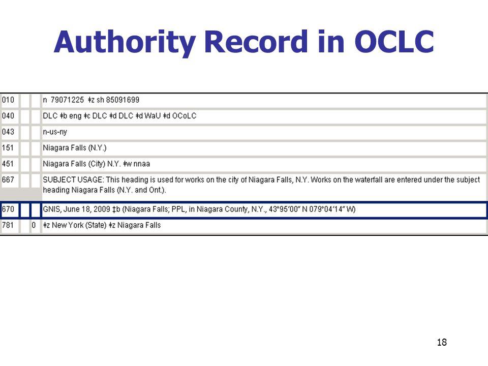 18 Authority Record in OCLC