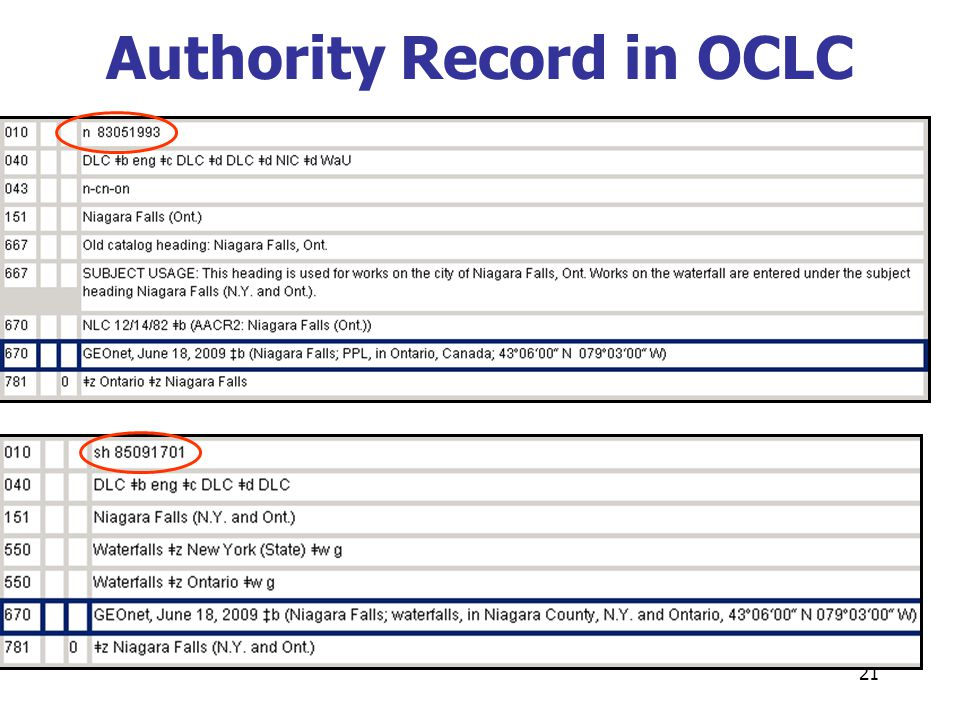 21 Authority Record in OCLC