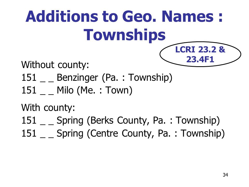 34 Additions to Geo. Names : Townships Without county: 151 _ _ Benzinger (Pa.